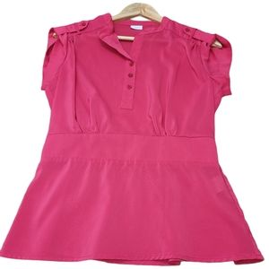 Suzy Shier Cap Sleeves Fitted Tunic Button Blouse